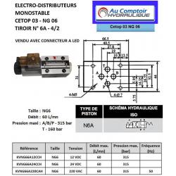 electro distributeur hydraulique monostable - NG6 - 4/2 - Y - P FERME - 24 VCC - N 6A