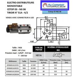 electro distributeur hydraulique monostable - NG6 - 4-2 - P sur A - B sur T - 24 VDC - N 51A