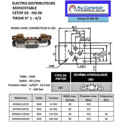 electro distributeur hydraulique monostable - NG6 - 4/3 CENTRE FERME - 12 VCC - N1