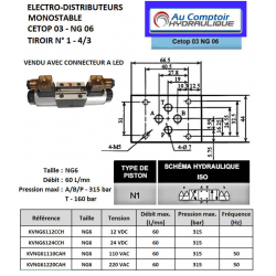 electro distributeur hydraulique monostable - NG6 - 4/3 CENTRE FERME - 220 VAC - N1