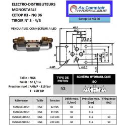 electro distributeur hydraulique monostable - NG6 - 4/3 CENTRE OUVERT - en H - 24 VCC. N3