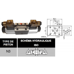 electrodistributeur 24 VCC monostable - NG6 - 4/3 CENTRE OUVERT - en H - N3. KVNG6324CCH 91,20 €