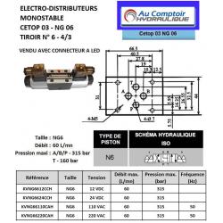 electrodistributeur 220 VAC monostable - NG6 - 4/3 - Y en A/B/T et P FERME - N6. KVNG66220CAH  91,20 €