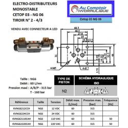 electrodistributeur 12 VCC monostable - NG6 - 4/3 CENTRE TANDEM - P sur T - N2. KVNG6212CCH  91,20 €