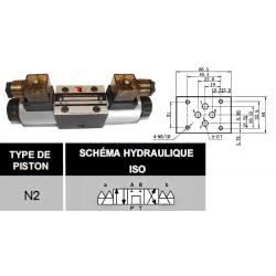 electro distributeur hydraulique monostable - NG6 - 4/3 CENTRE TANDEM - P sur T - 110 VAC - N2