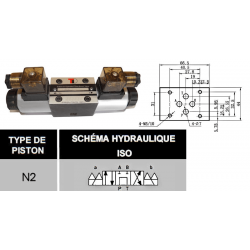 electro distributeur hydraulique monostable - NG6 - 4/3 CENTRE TANDEM - P sur T - 220 VAC - N2
