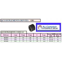 Accouplement - Manchon d'accouplement à denture extérieure dentes 1:8 - GR1 - 12 DENTS *
