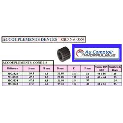 Accouplement - Manchon d'accouplement à denture extérieure dentes 1:8 - GR4 - 23 DENTS *MO4023 Accouplements hydraulique 40,32€