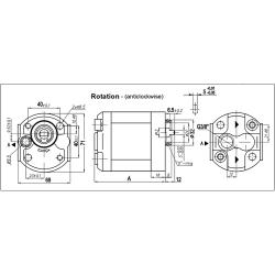 Pompe hydraulique A ENGRENAGE GR0 - ANTI HORAIRE - 2.7 CC - SORTIE ARR