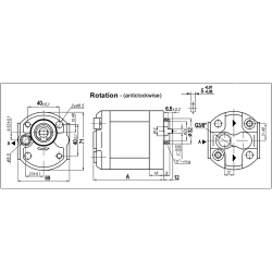 Pompe hydraulique A ENGRENAGE GR0 - ANTI HORAIRE - 7.0 CC - SORTIE ARR