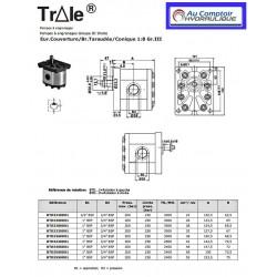 Pompe hydraulique A ENGRENAGE GR3 - DROITE - 55.0 CC - Brides taraudées. BTD3550D01 Pompe GR3 288,00€