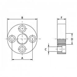 Bride 4 trous acier droite - DN 51 - FG 3/4 BSP - Type DF