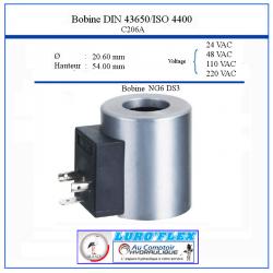 Bobine NG 06- 220 VAC - 176 W - Ø Intérieur 20.60 - Hauteur 54 C206220VAC Bobine - Connecteur 36,48€