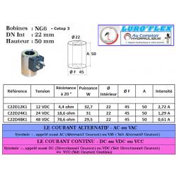 Bobine NG 06- 12 VDC - 32.7 W - Ø Intérieur 22 - Hauteur 50 C22D12K1 Bobine - Connecteur 36,48€